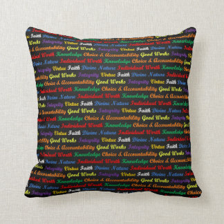 LDS Young Women Values, Coloured on Black Throw Pillow