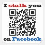Le acecho en el código de Facebook QR Pegatinas Cuadradases Personalizadas