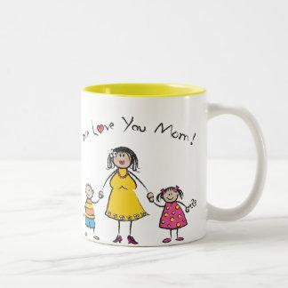 Le amamos el día de madre feliz de la familia del taza de dos tonos