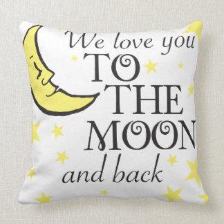Le amamos luna y parte posterior almohadas