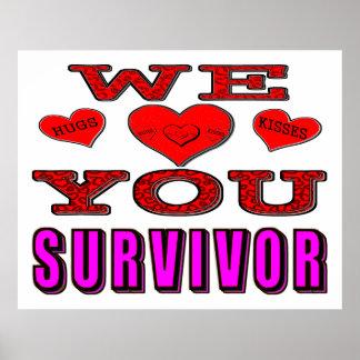 Le amamos superviviente del cáncer de pecho póster