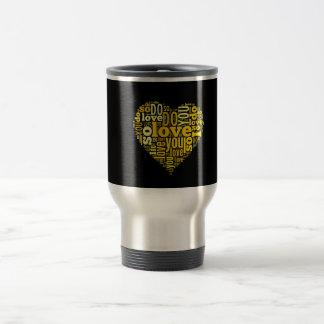 Le amo arte negro amarillo de las letras de la taza de viaje