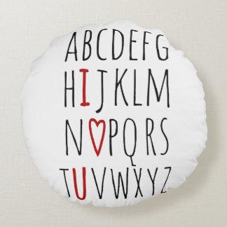 Le amo (corazón) alfabeto cojín redondo