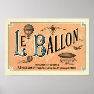 Le Ballon 1883 aeronautical journal ad Poster