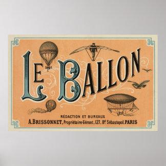 Le Ballon - diario aeronáutico francés 1883 Póster