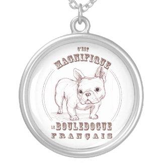 Le Bouledogue Francais Round Pendant Necklace
