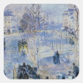 Le Boulevard de Clichy de Camille Pissarro Pegatina Cuadrada