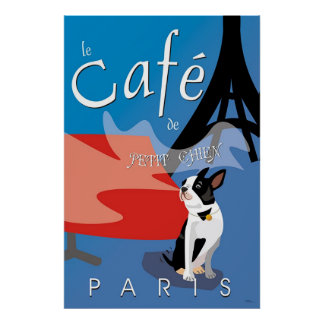 Le Cafe de Petit Chien, Paris (bleu) Poster
