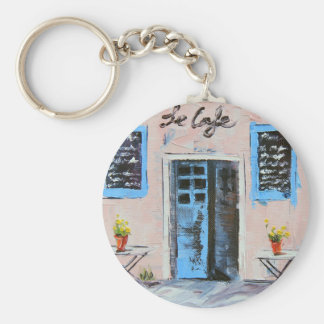 Le Cafe, Palette Knife Painting in Oil Basic Round Button Keychain