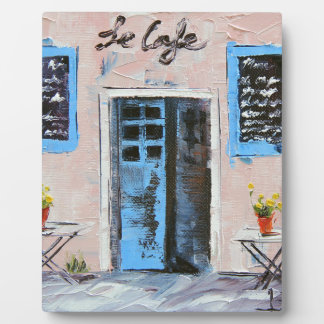 Le Cafe, Palette Knife Painting in Oil Plaque