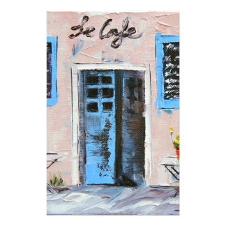 Le Cafe, Palette Knife Painting in Oil Stationery