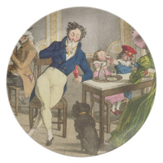 Le Cafe, pub. by Rodwell and Martin, 1820 (colour Dinner Plates