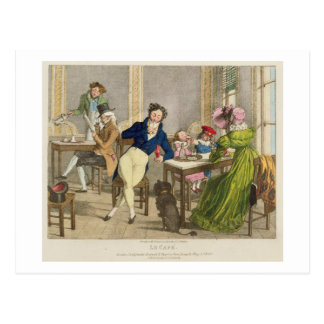 Le Cafe, pub. by Rodwell and Martin, 1820 (colour Postcard