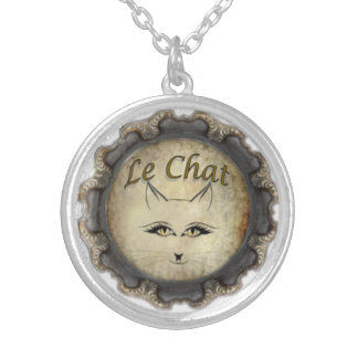 Le Chat: black & gray Silver Plated Necklace