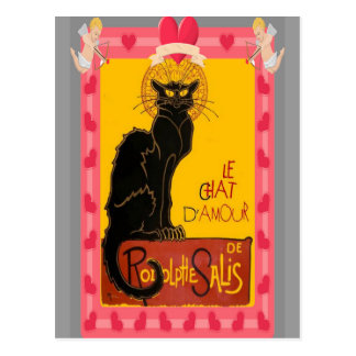 Le Chat D'Amour With Heart And Cherub Border Postcard