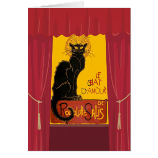 Le Chat D'Amour with Theatrical Curtain Border Card