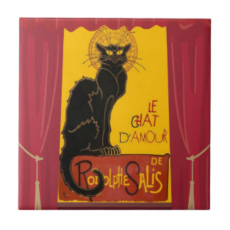 Le Chat D'Amour with Theatrical Curtain Border Ceramic Tile