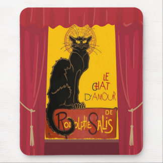 Le Chat D'Amour with Theatrical Curtain Border Mouse Pad