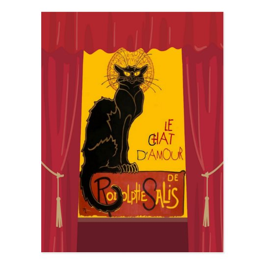 Le Chat D'Amour with Theatrical Curtain Border Postcard