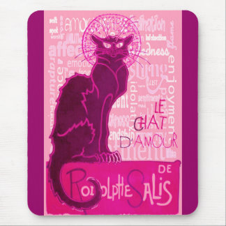 Le Chat D'Amour In Pink With Words of Love Mouse Pad