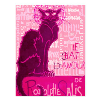 Le Chat D'Amour In Pink With Words of Love Postcard