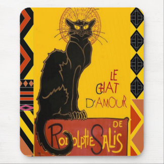 Le Chat D'Amour With Ethnic Coloured Border Mouse Pad