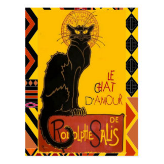 Le Chat D'Amour With Ethnic Coloured Border Postcard