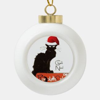 Le Chat Noel Ceramic Ball Christmas Ornament