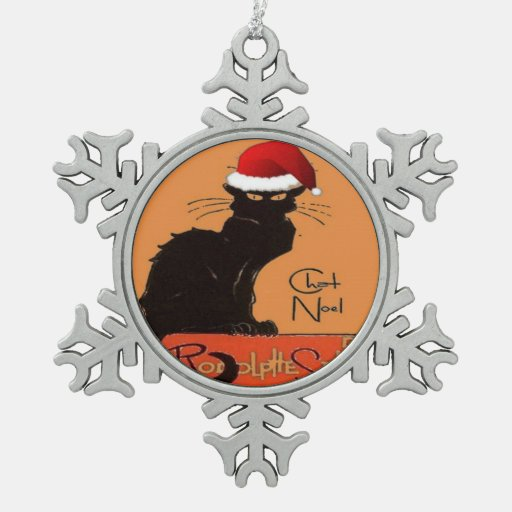 Le Chat Noel Snowflake Pewter Christmas Ornament