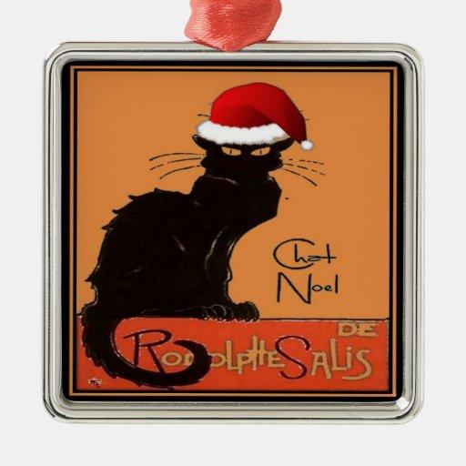 Le Chat Noel Square Metal Christmas Ornament