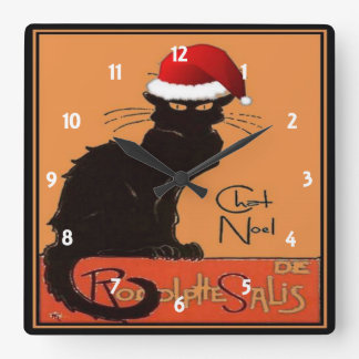Le Chat Noel Square Wall Clock