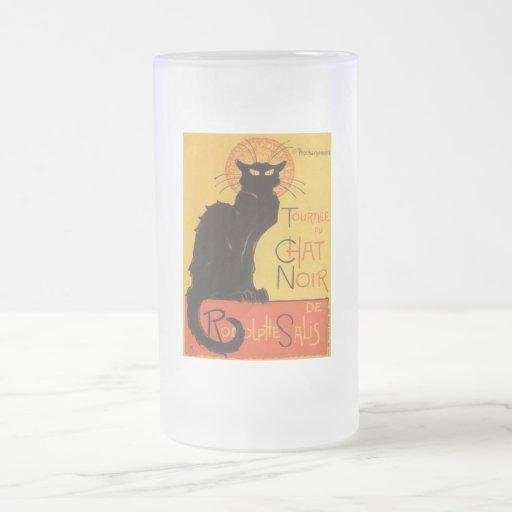 Le Chat Noir 16 Oz Frosted Glass Beer Mug