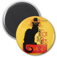 Le Chat Noir - Action De Grâces 2 Inch Round Magnet