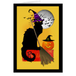 Le Chat Noir - bruja de Halloween Tarjetas