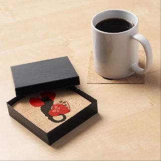 Le Chat Noir con el caramelo de la tarjeta del día Posavasos