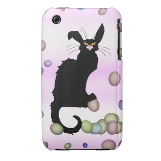 Le Chat Noir - Easter Bunny on Pink Background iPhone 3 Case-Mate Cases