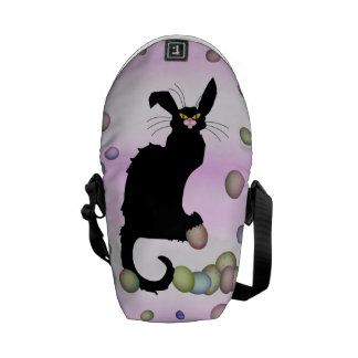 Le Chat Noir - Easter Bunny on Pink Background Courier Bag