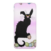 Le Chat Noir - Easter Bunny on Pink Background iPhone 5 Pouch