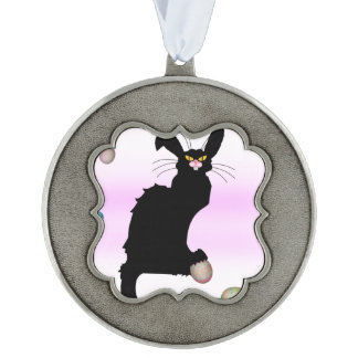Le Chat Noir - Easter Bunny on Pink Background Ornament