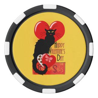 Le Chat Noir - el día de San Valentín feliz Fichas De Póquer