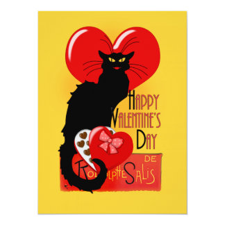 """Le Chat Noir - el día de San Valentín feliz Invitación 5.5"""" X 7.5"""""""
