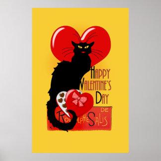 Le Chat Noir - el día de San Valentín feliz Posters