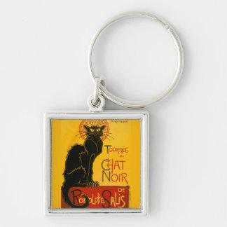 Le Chat Noir el vintage de Nouveau del arte del Llavero Cuadrado Plateado