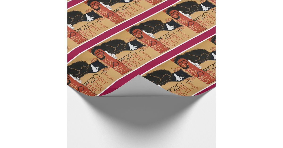 le chat noir et blanc wrapping paper zazzle. Black Bedroom Furniture Sets. Home Design Ideas