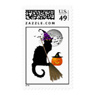 Le Chat Noir - Halloween Witch Cat Postage