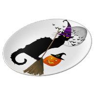 Le Chat Noir - Halloween Witch Porcelain Plate