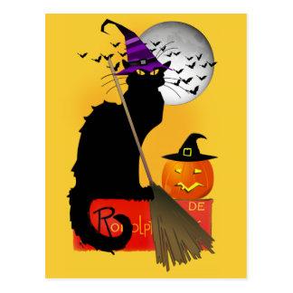 Le Chat Noir - Halloween Witch Postcard