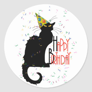 Le Chat Noir - HAPPY BIRTHDAY! Classic Round Sticker