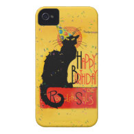Le Chat Noir -  Happy Birthday Greetings Case-Mate iPhone 4 Case