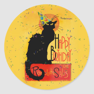 Le Chat Noir - Happy Birthday Greetings Classic Round Sticker